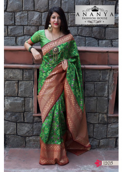 Plushy Green Banarasi Silk Saree with Green Blouse