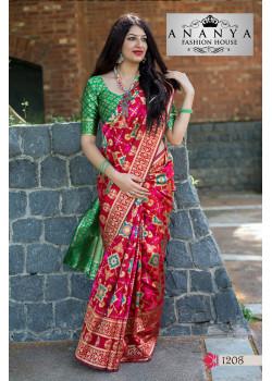 Classic Multicolor Banarasi Silk Saree with Green Blouse