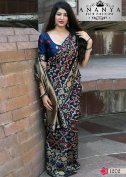 Exotic Dark Blue Banarasi Silk Saree with Dark Blue Blouse