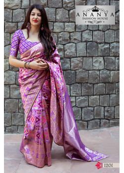 Gorgeous Purple Banarasi Silk Saree with Purple Blouse