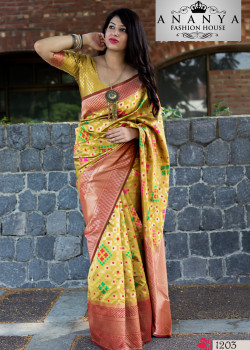 Magnificient Yellow Banarasi Silk Saree with Yellow Blouse