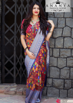 Melodic Multicolor Banarasi Silk Saree with Pink Blouse