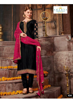 Enigmatic Black Satin Georgette Salwar kameez
