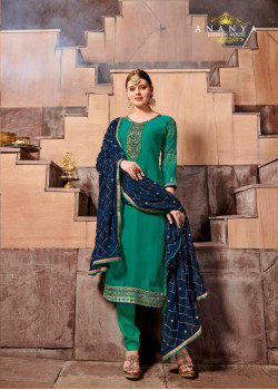 Plushy Sea Green Satin Georgette Salwar kameez