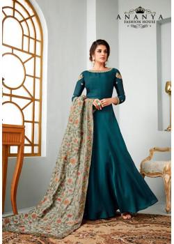Divine Turquoise Satin Georgette Salwar kameez