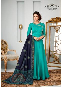 Charming Light Blue Satin Georgette Salwar kameez