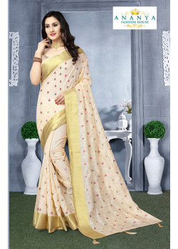 Melodic Off White Silk Saree with Beige Blouse