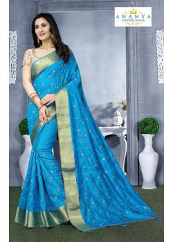 Adorable Light Blue Silk Saree with Beige Blouse