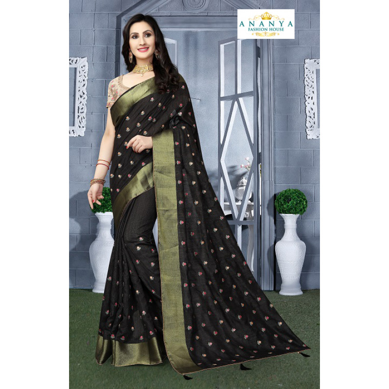 Enigmatic Black Silk Saree with Beige Blouse