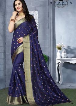 Incredible Indigo Silk Saree with Beige Blouse