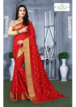 Plushy Red Silk Saree with Beige Blouse