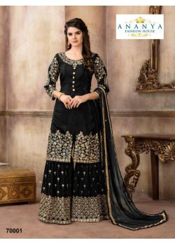 Incredible Black Pure Viscose- Silk Salwar kameez