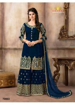 Enigmatic Dark Blue Pure Viscose- Silk Salwar kameez