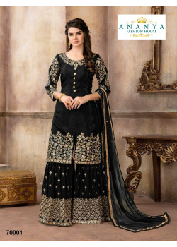 Incredible Black Pure Viscose- Silk Salwar kameez