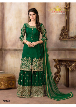 Plushy Dark Green  Pure Viscose- Silk Salwar kameez