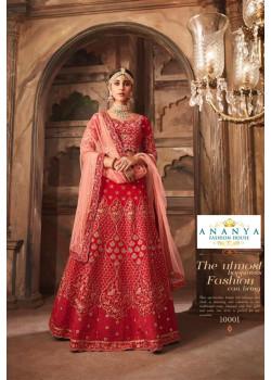 Incredible Red color Banarasi Silk - Santoon Wedding Lehenga