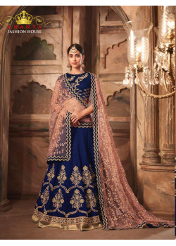 Plushy Dark Blue color Banarasi Silk - Santoon Designer Lehenga