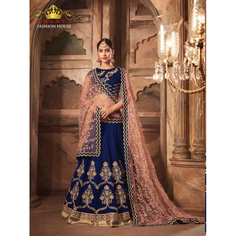 Plushy Dark Blue color Banarasi Silk - Santoon Designer Lehenga