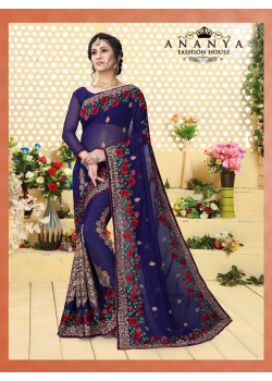 Divine Dark Blue Georgette Saree with Dark Blue Blouse