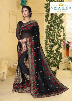 Gorgeous Black Georgette Saree with Black Blouse