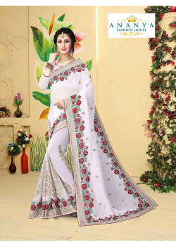 Exotic  White Georgette Saree with  White Blouse