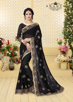 Melodic Black Georgette Saree with Black Blouse