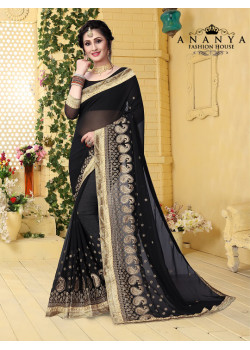 Charming Black Georgette Saree with Black Blouse