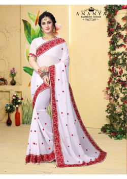 Classic White Georgette Saree with White Blouse