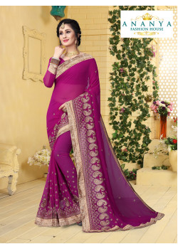 Dazzling Purple Georgette Saree with Purple Blouse
