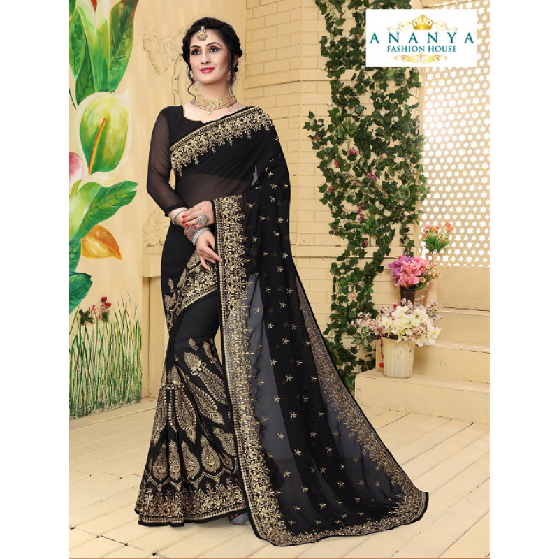 Incredible Black  Georgette Saree with Black  Blouse