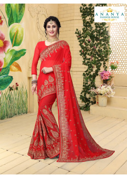 Plushy Red Georgette Saree with Red Blouse