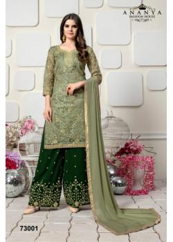 Flamboyant Pista Green Organza Salwar kameez