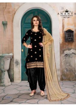 Charming Black Velvet Salwar kameez
