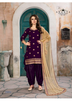 Dazzling Purple Velvet Salwar kameez