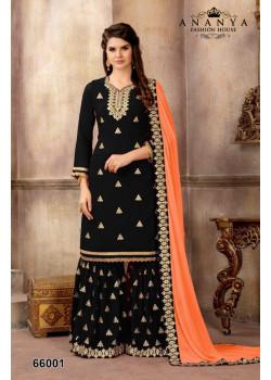 Exotic Black Faux Georgette Salwar kameez