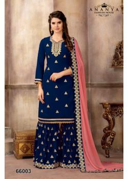 Incredible Dark Blue Faux Georgette Salwar kameez