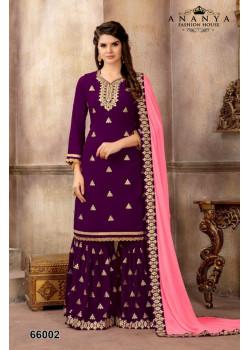 Magnificient Purple Faux Georgette Salwar kameez
