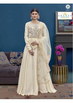 Trendy White Silk Salwar kameez