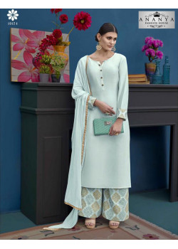 Adorable Pastel Blue Silk Salwar kameez