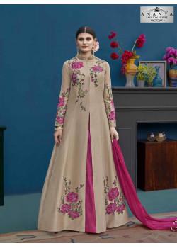 Classic Beige Silk Salwar kameez