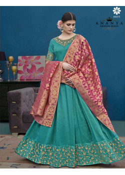 Melodic Sea Green Silk Salwar kameez