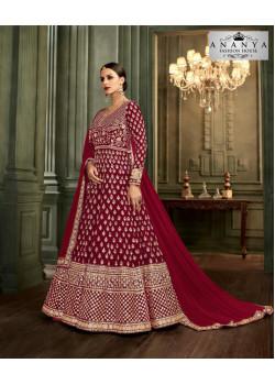 Exotic Maroon Mulberry Silk Salwar kameez