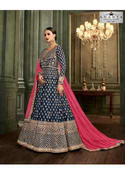 Magnificient Dark Blue Mulberry Silk Salwar kameez