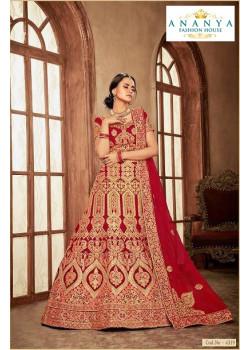 Adorable Red - Gold color Velvet  Wedding Lehenga