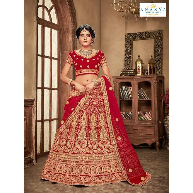 Luscious Red - Gold color Velvet  Wedding Lehenga