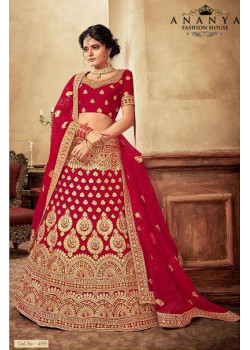 Melodic Red - Gold color Velvet  Wedding Lehenga