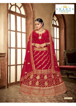 Charming Red - Gold color Velvet  Wedding Lehenga