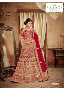 Dazzling Red - Gold color Velvet  Wedding Lehenga