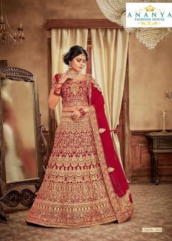 Dazzling Red - Gold color Velvet  Wedding Lehenga