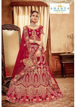 Divine Red - Gold color Velvet  Wedding Lehenga